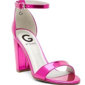 G by Guess size 7 Shantel 3 Pink Metallic Heels